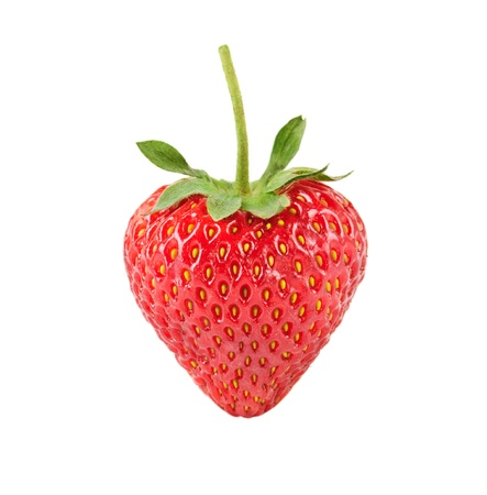 stem: Heart shaped strawberry isolated over white background Stock Photo