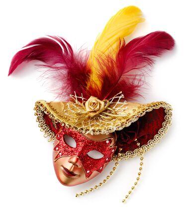 mascaras de carnaval: Máscara de Carnaval rojo. Aislado en blanco
