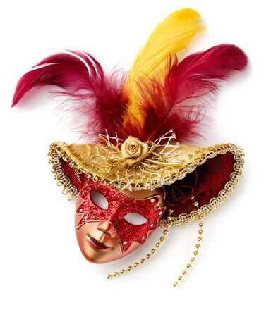 carnival masks: Red carnival mask. Isolated over white