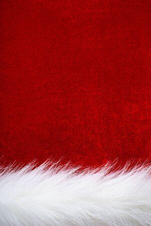Red velvet and white fur. Part of Santa s clothing.