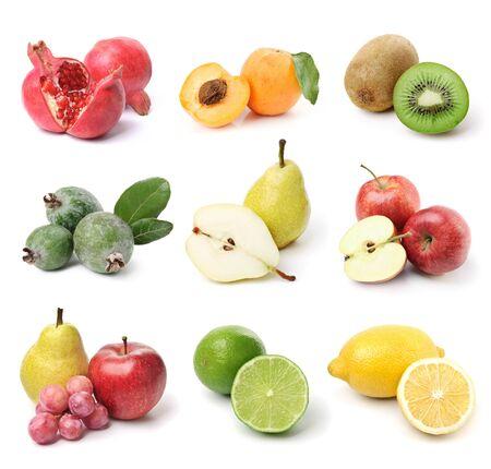 9 종류의 과일 컬렉션. 화이트 절연