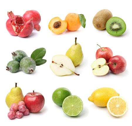 Collection of nine kinds of fruit. Isolated on white