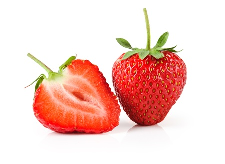 cross cut: fresh and tasty strawberries  on white background