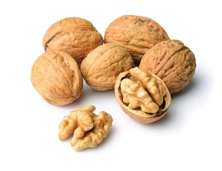 Walnuts over white backgroundg