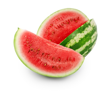 Ripe watermelon and slice isolated over white Stock Photo