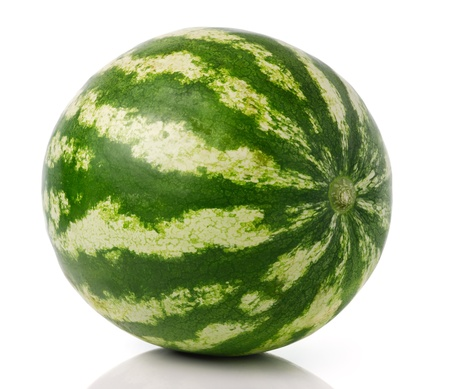 Green whole watermelon isolated over white background