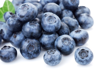 Closeup on fresh blueberries isolated on white background. Selective focus.