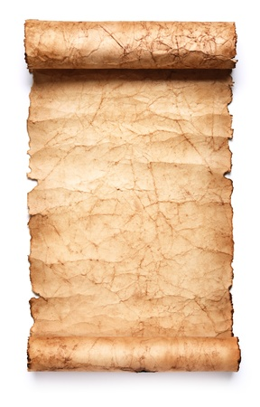 scroll paper: Old paper scroll. Isolated on white background