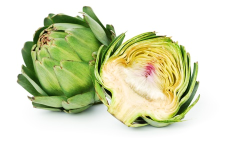 Two Fresh Artichokes isolated on white background