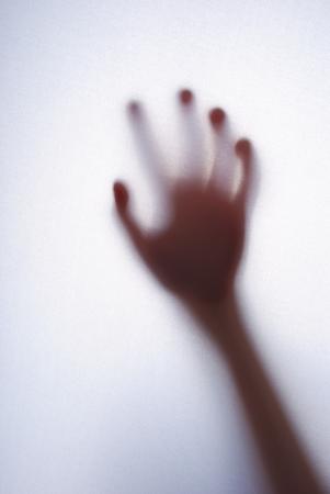 Five years girls palm behind white background Archivio Fotografico