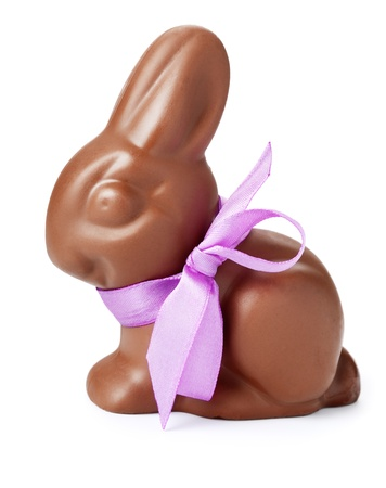 bunnies: Chocolate rabbit with purple ribbon. Isolated on white.