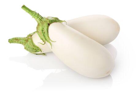 Two white eggplants Standard-Bild