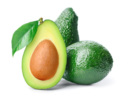 half open: Three avocados and leaf isolated over white Stock Photo