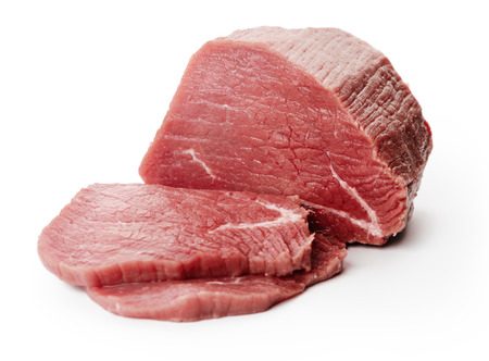 to cut: Raw fillet steaks on white