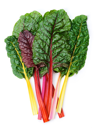 Mangold or Swiss chard 'Rainbow' leaves isolated on white