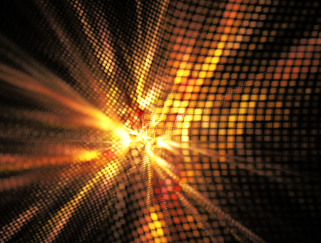 breakthrough: Abstract textured image of golden glow , a breakthrough on a black background Stock Photo