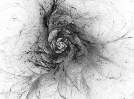 metaphorical: Abstract textured image in black and white. Composition fractal vortex with a metaphorical connection with the universe , space, astronomy, science.