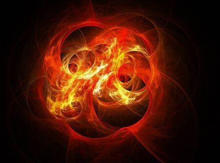 Fractal-Logo für kreative Gestaltung. Brennende Flammen, Feuer. Auf einem schwarzen Hintergrund