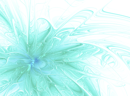 futuristic nature: Abstract fractal background with turquoise ornaments and a splash of paint .