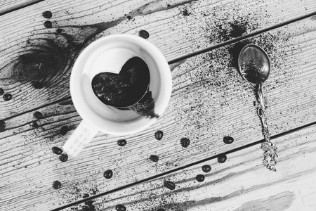 the art of divination: The drinking morning coffee . Everyone loves coffee. Black and white image Stock Photo