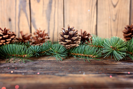 Christmas composition from branches of spruce and cones on a woo