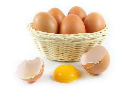 broken chicken eggs and eggs in the basket on white background  photo