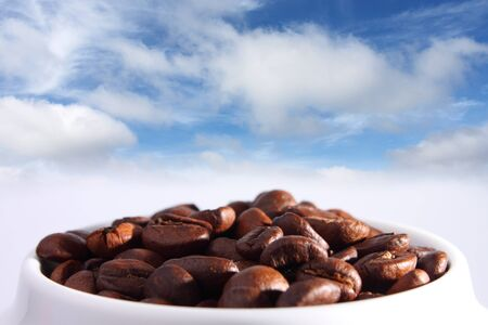 the beautiful coffee beans , sky and clouds photo