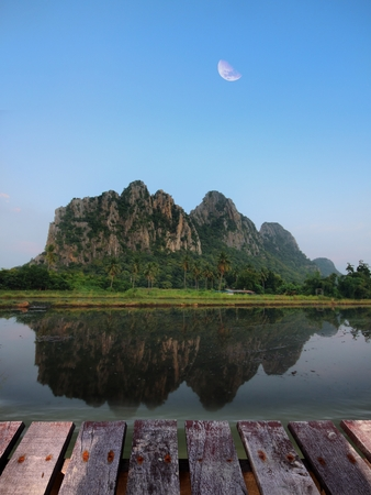 kownor rocky mountain and water reflex  in Nakornsawan, North, Thailand photo