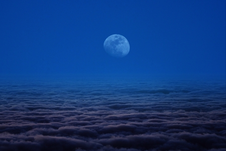 mist cloud moon and blue sky photo
