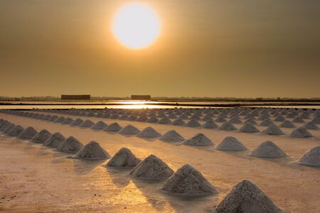 saline, salt farm in sunset from Thailand photo