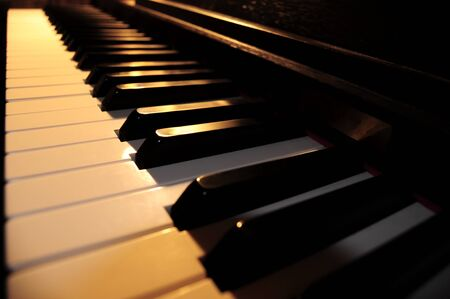 Piano Keyboard under warm soft light (middle key focus)
