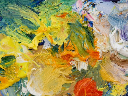 Artists oil paints multi coloured close up semi abstract photo