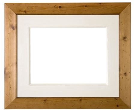 Large empty knotty pine wood picture frame with mount isolated on white  photo