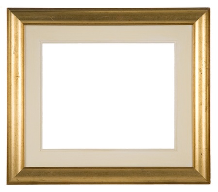 antiqued: Large empty distressed gold picture frame with mount isolated on white