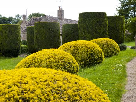 cotswold: Topiary in the churchyard in Duntisbourne Abbotts, an idyllic Cotswold village, Gloucestershire, UK
