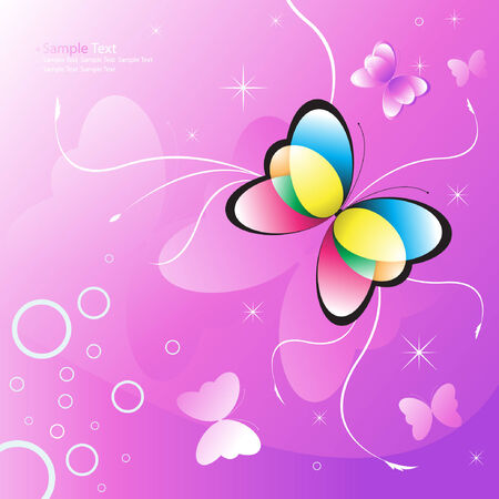 butterfly vector illustration on a pink background Vector