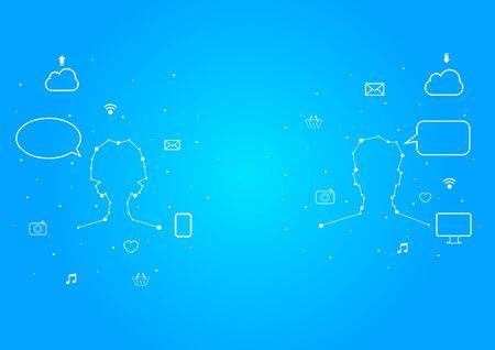 woman tablet: Men and Women online Social network Illustration
