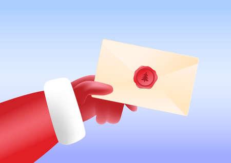 Send Santa Claus holding envelope in hand. 向量圖像