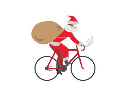 Santa Claus ride a Bike