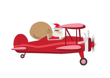 Santa Claus ride a Plane