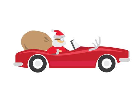 Santa Claus ride a car