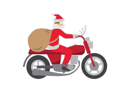 Santa Claus ride a Classic Motobike