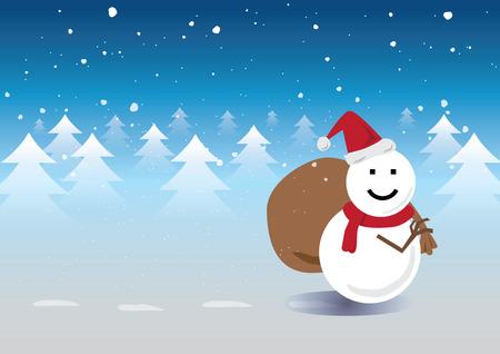 Snowman Santa Claus Walk across Pine Forrest