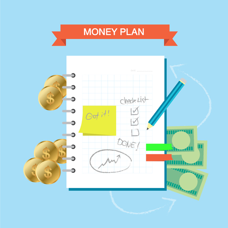 Personal finance plan note infographic theme 向量圖像