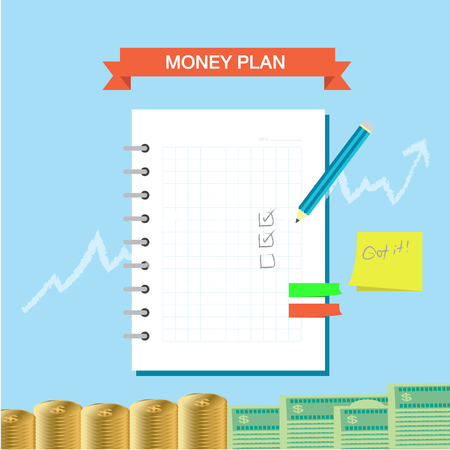Personal finance plan note infographic theme Illustration