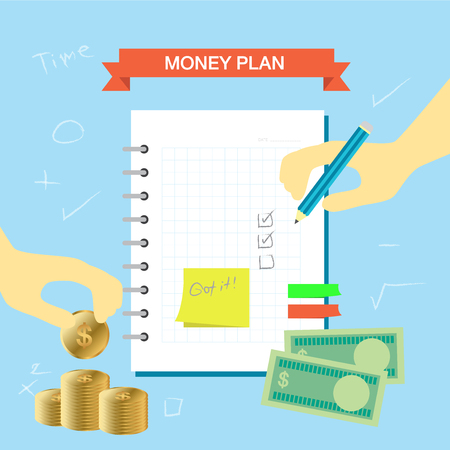 personal finance: Personal finance plan note infographic theme Illustration