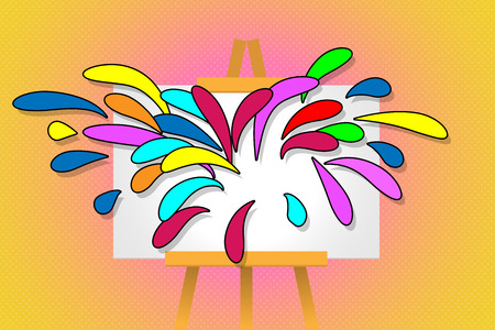 Art Stand with splash colorful from canvas 向量圖像