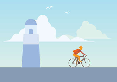 Man ride bicycle with lighthouse in background flat style vector 向量圖像