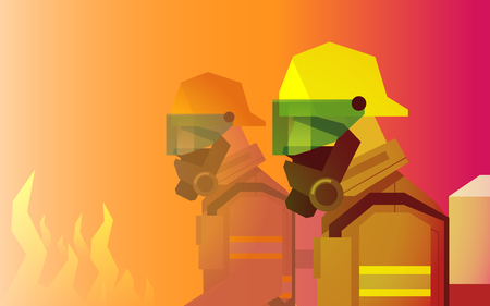 firefighter heroes in front of fire