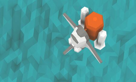 shuttle: Space Shuttle launch top view see ocean in background Low-poly 3d rendering Stock Photo